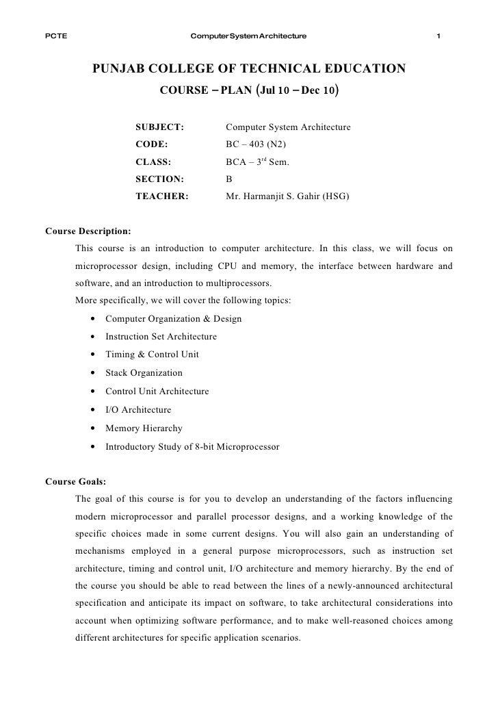PCTE                                 Computer System Architecture                               1               PUNJAB COL...