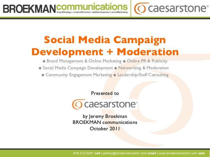 Social Media Campaign Development + Moderation    Brand Management & Online Marketing    Online PR & Publicity   Social...