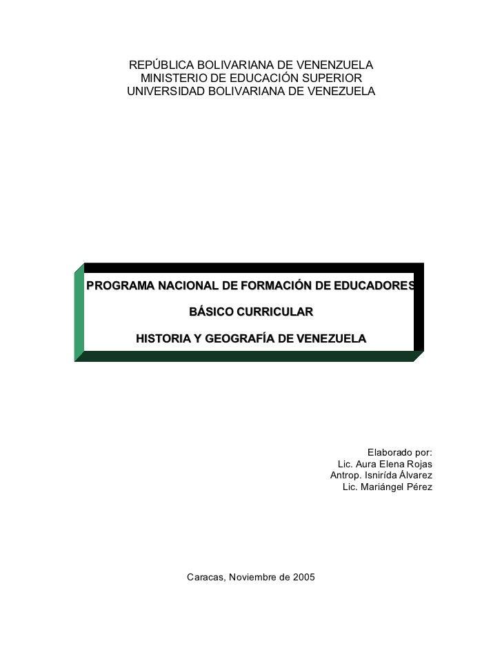 REPÚBLICA BOLIVARIANA DE VENENZUELA       MINISTERIO DE EDUCACIÓN SUPERIOR     UNIVERSIDAD BOLIVARIANA DE VENEZUELAPROGRAM...