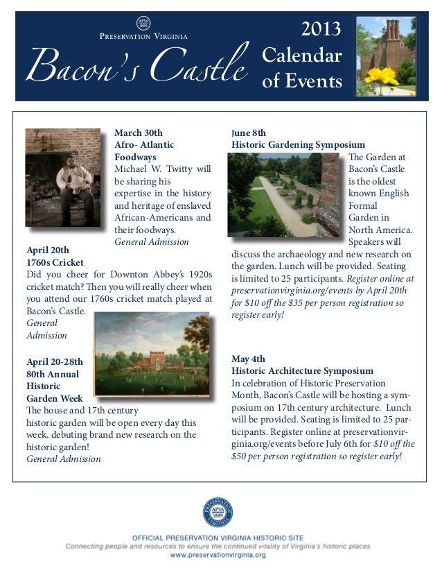 Bacon's Castle 2013 Calendar of Events