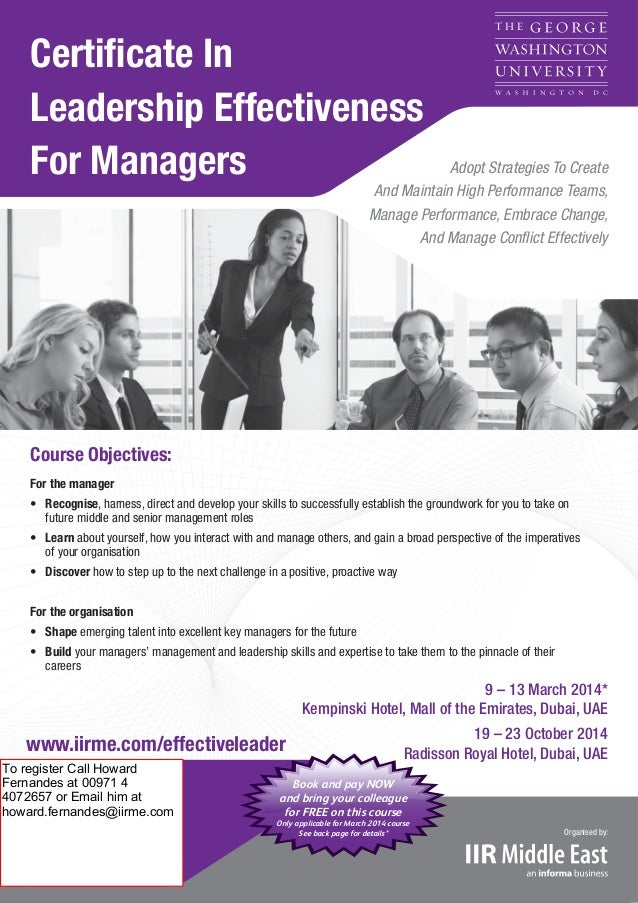Certificate In Leadership Effectiveness For Managers  Adopt Strategies To Create And Maintain High Performance Teams, Manag...