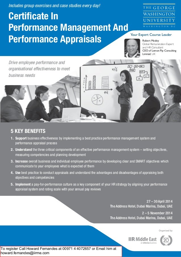 Includes group exercises and case studies every day!  Certificate In Performance Management And Performance Appraisals  You...