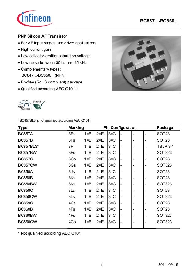 2011-09-191 BC857...-BC860... PNP Silicon AF Transistor • For AF input stages and driver applications • High current gain ...