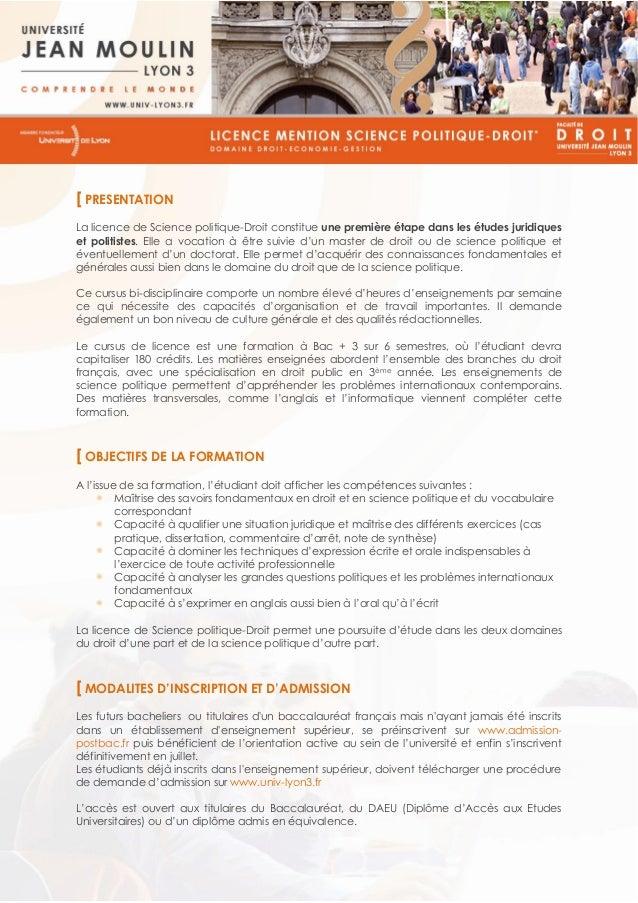 [ PRESENTATION La licence de Science politique-Droit constitue une première étape dans les études juridiques et politistes...