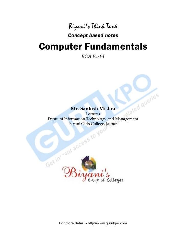 Biyanis Think Tank                    Concept based notes   Computer Fundamentals                            BCA Part-I   ...