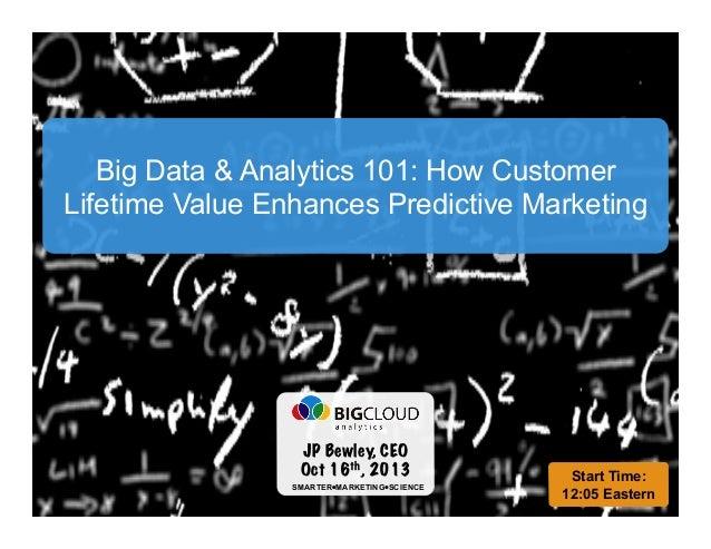 Big Data & Analytics 101: How Customer Lifetime Value Enhances Predictive Marketing  Funding Your Big Data & Analytics Jou...
