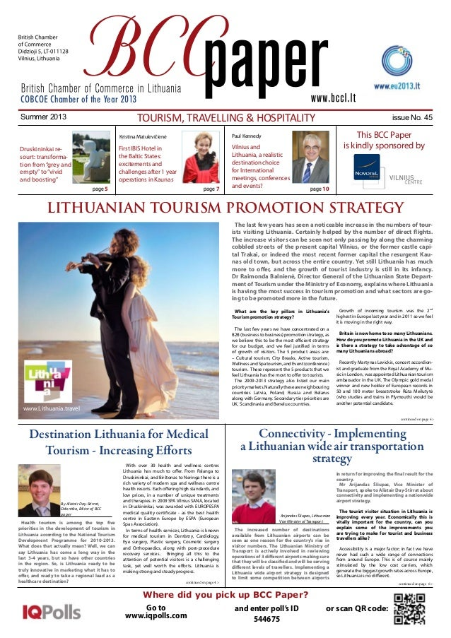 COBCOE Chamber of the Year 2013  Tourism, Travelling & Hospitality  Summer 2013  Kristina Matulevičienė  page 5  Vilnius a...