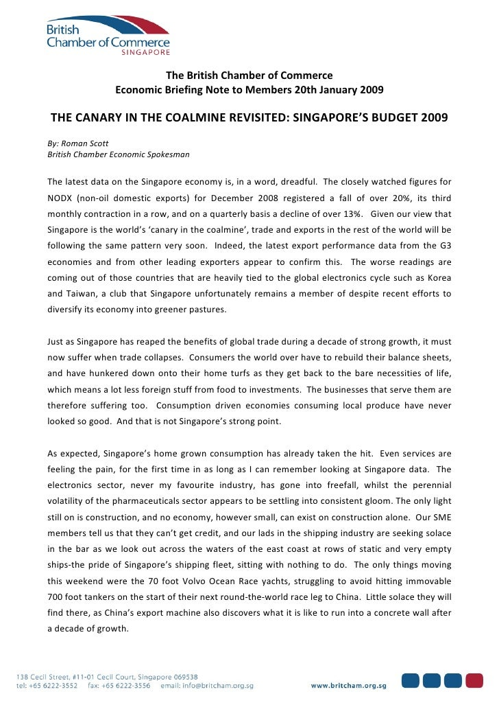 The British Chamber of Commerce                     Economic Briefing Note to Members 20th January 2009        THE CANARY ...