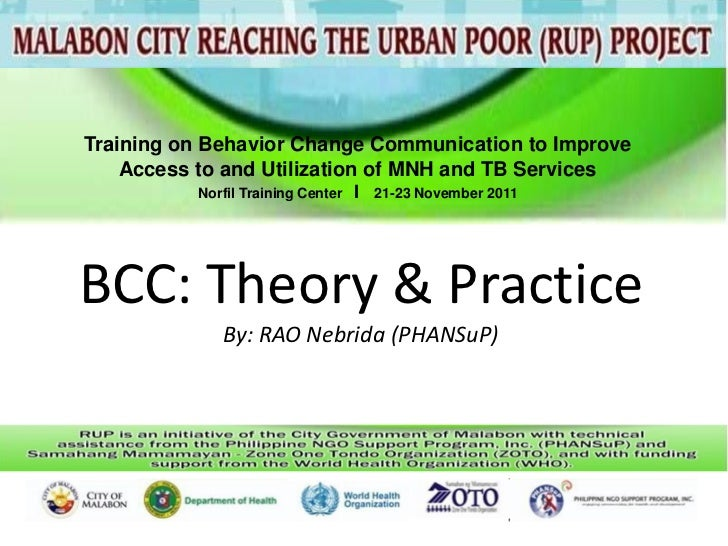 Training on Behavior Change Communication to Improve    Access to and Utilization of MNH and TB Services          Norfil T...