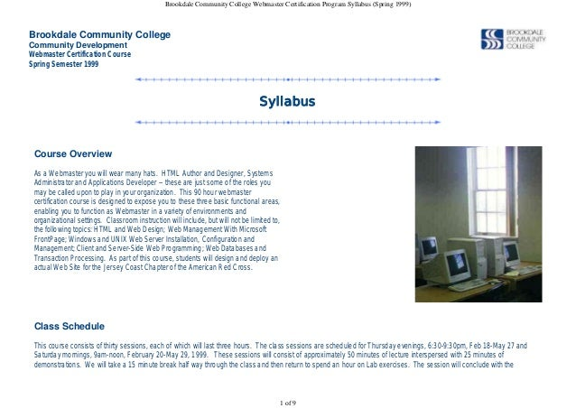 BCC Webmaster Certification Program Syllabus (Spring 1999)