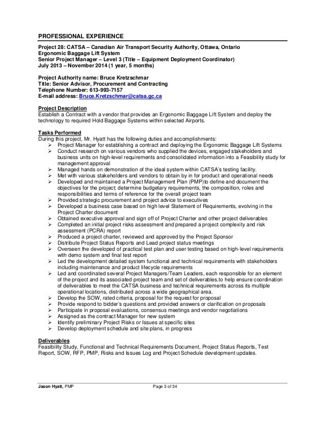 Project manager resume sample pmp