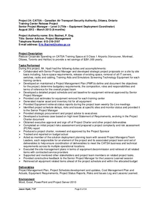 Project manager resume security manager