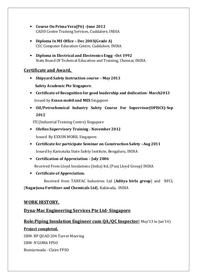 Shipyard piping engineer resume