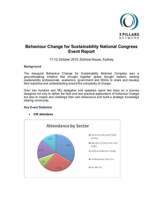 Behaviour Change for Sustainability National Congress Event Report 11-12 October 2010, Doltone House, Sydney Background Th...