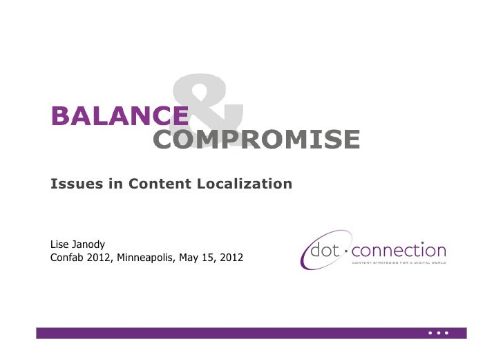 Weaving localization issues into a content strategyIssues in Content LocalizationLise JanodyConfab 2012, Minneapolis, May ...