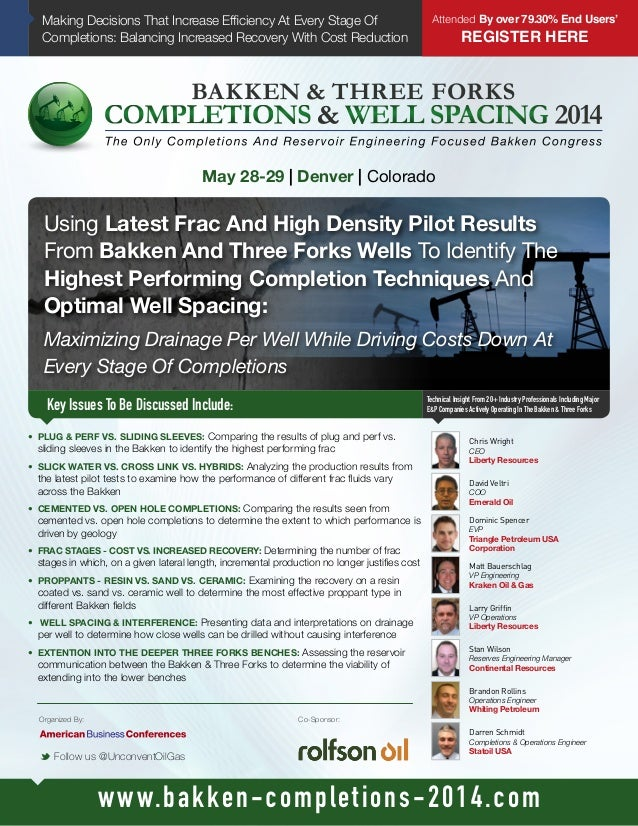 Bakken & Three Forks: Completions & Well Spacing Congress 2014