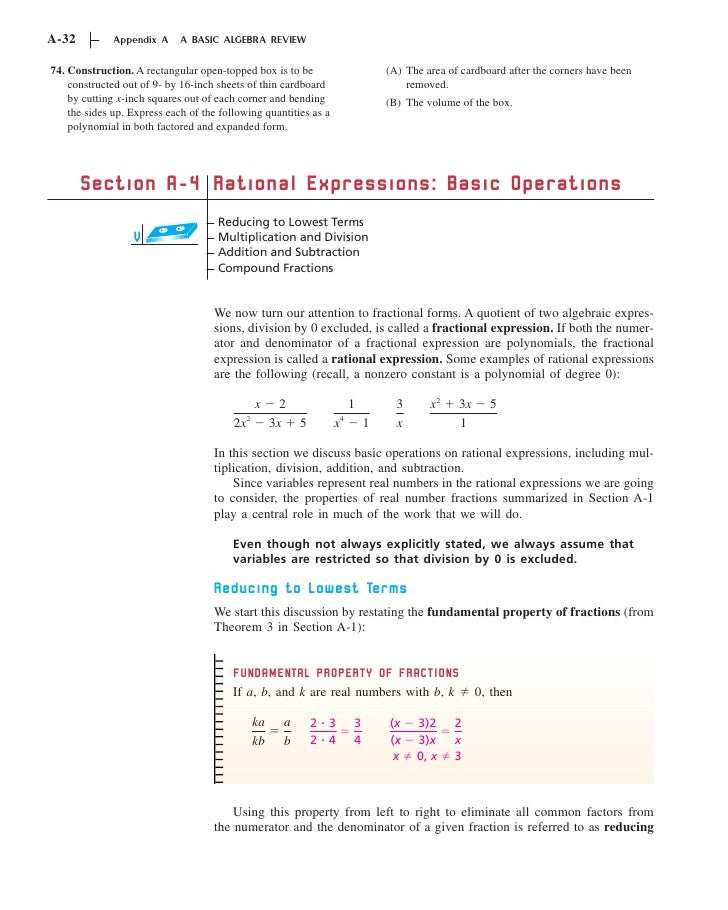 A-32          Appendix A     A BASIC ALGEBRA REVIEW74. Construction. A rectangular open-topped box is to be               ...