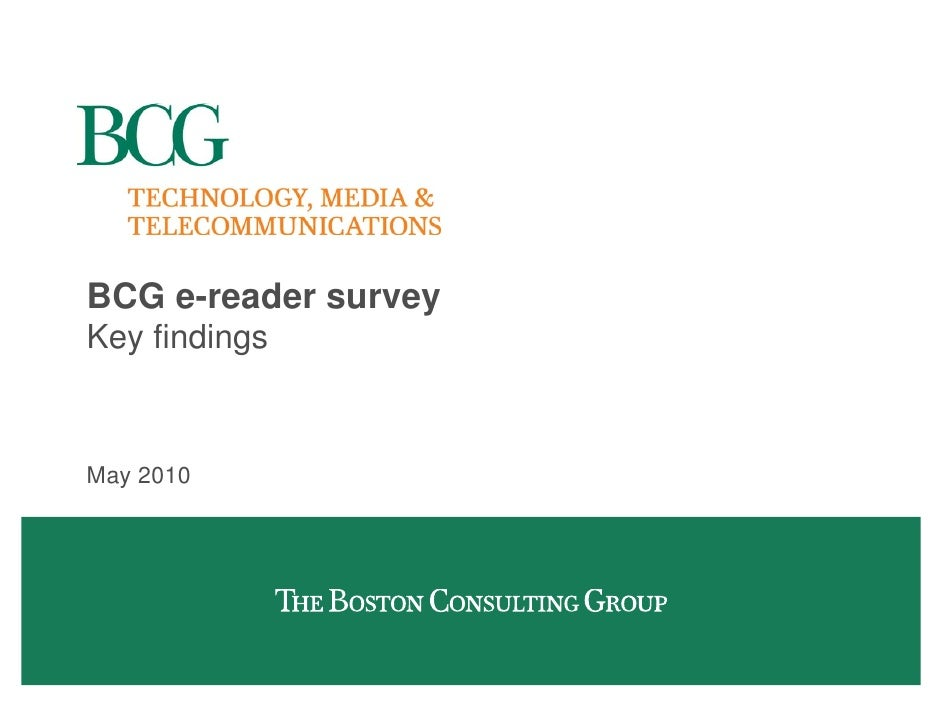 BCG e-reader survey Key findings    May 2010