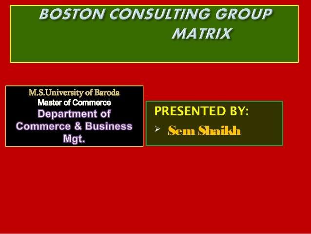 BCG Matrix- Sem Shaikh