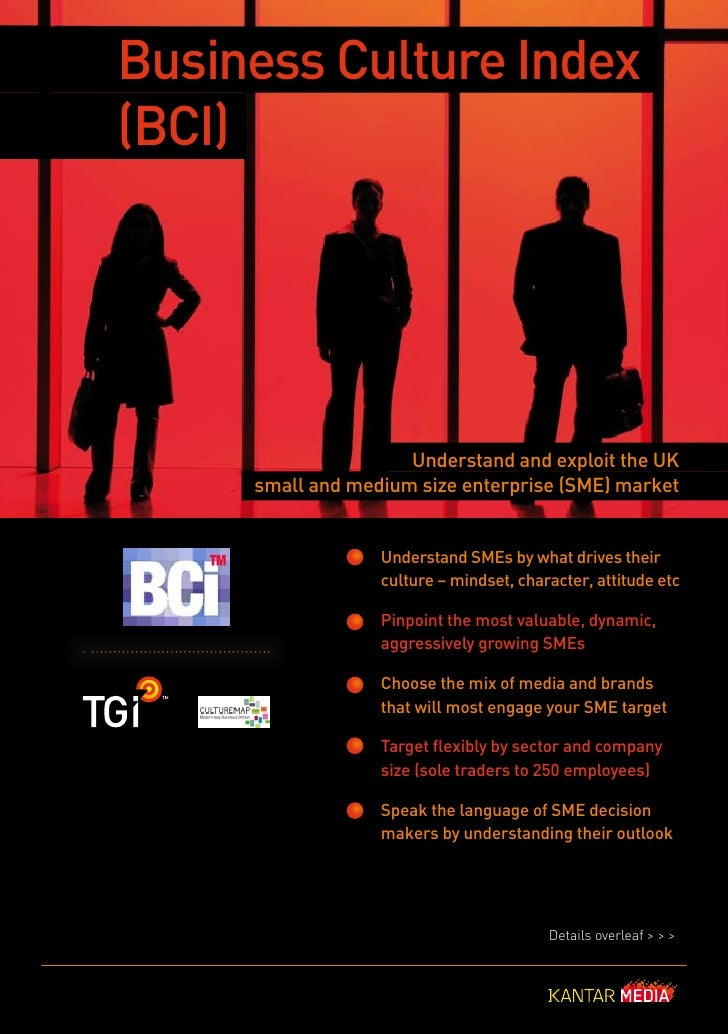 Business Culture Index (BCI)                          Understand and exploit the UK      small and medium size enterprise ...