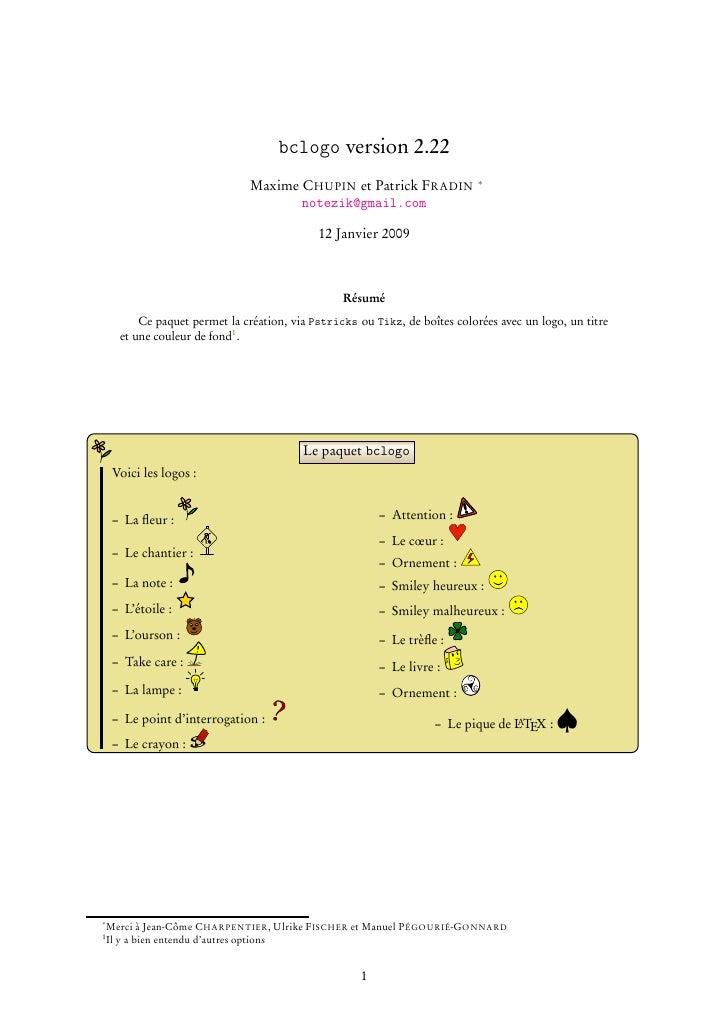 bclogo version 2.22                                Maxime CHUPIN et Patrick FRADIN               ∗                        ...