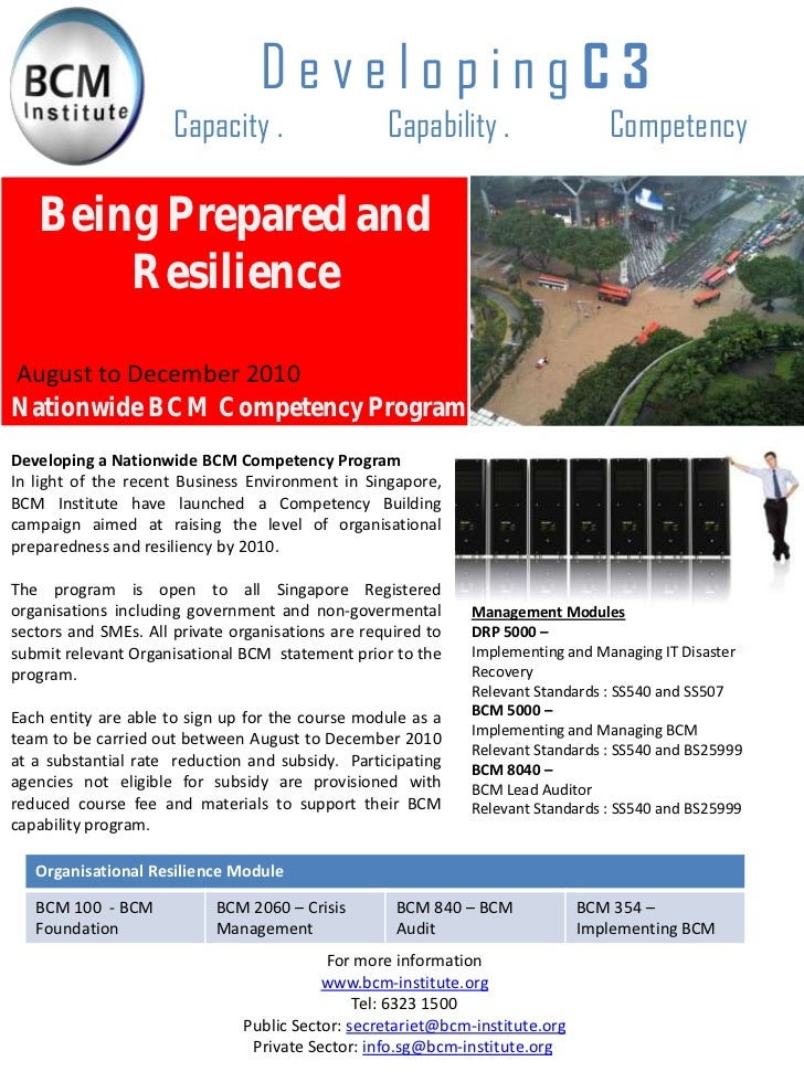 BCM Institute BCM Competency Program 2010: Developing Organization Resilency and Achieving BCM Certification