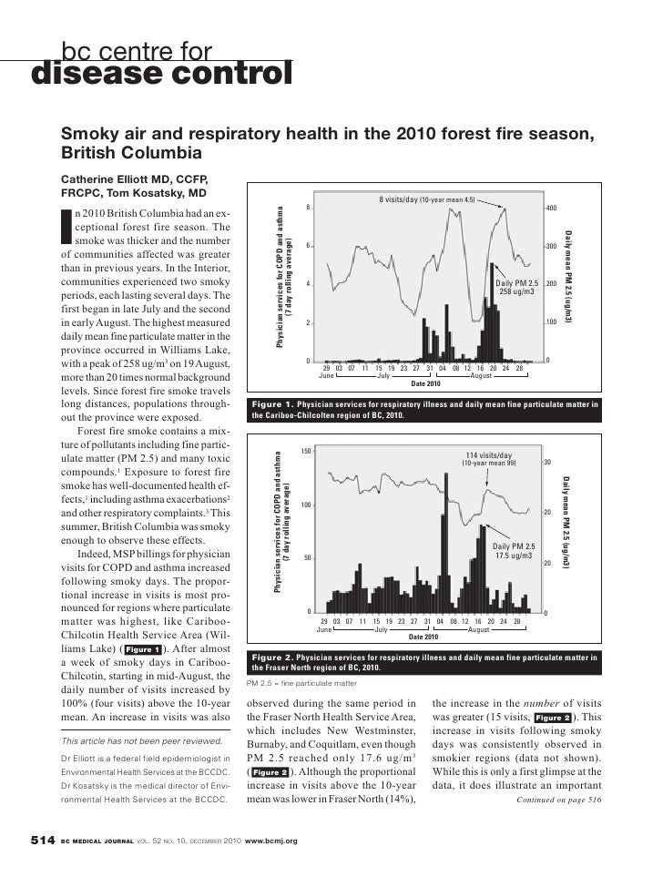 bc centre fordisease control      Smoky air and respiratory health in the 2010 forest fire season,      British Columbia  ...