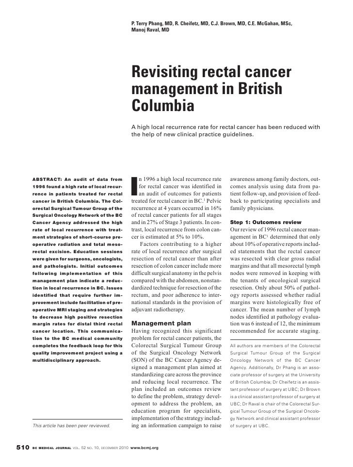British Columbia Medical Journal, December 2010 - Revisiting rectal cancer management in British Columbia