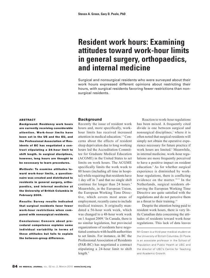British Columbia Medical Journal, March 2010 issue: Resident work hours: Examining attitudes toward work-hour limits in general surgery, orthopaedics, and internal medicine