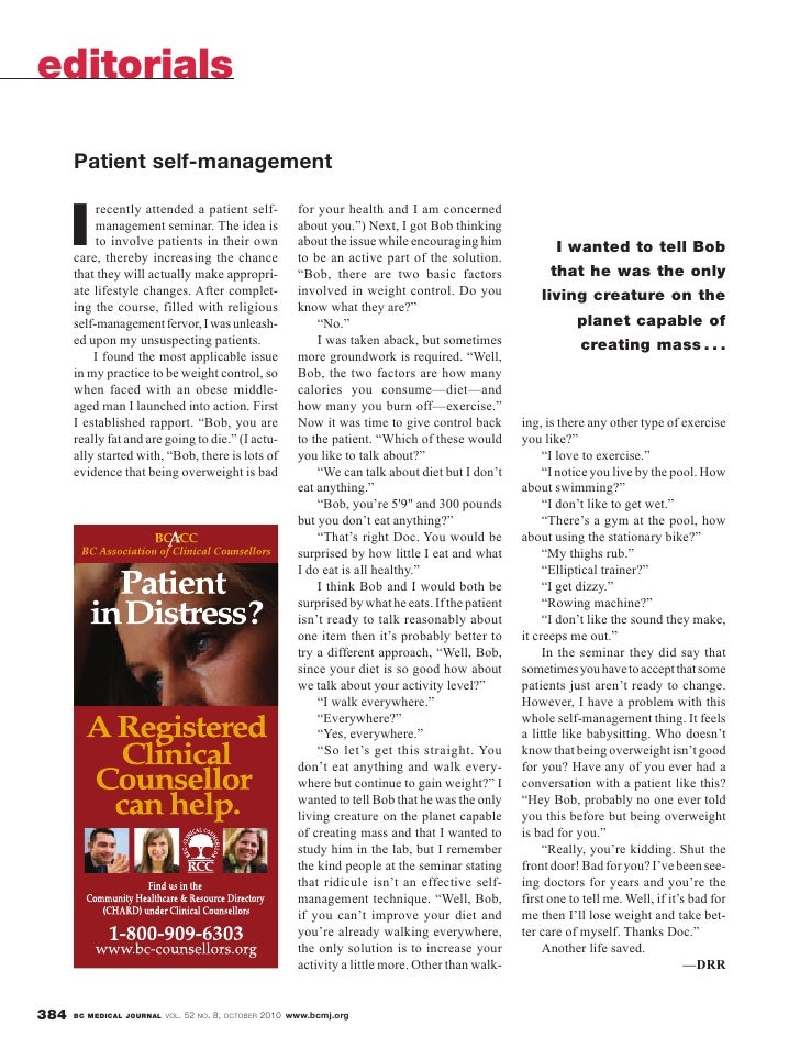 British Columbia Medical Journal, October 2010 issue: Editorials - Patient self-management