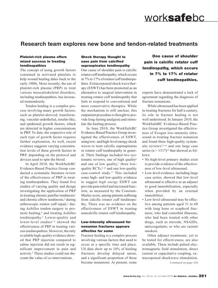 British Columbia Medical Journal, October 2010 issue: Worksafe - Research team explores new bone and tendon-related treatments