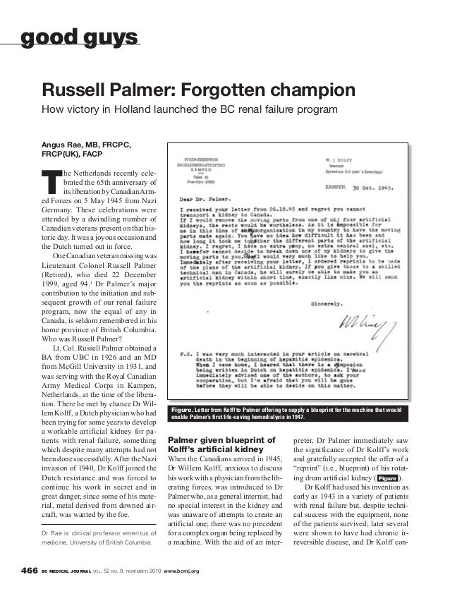 BC MEDICAL JOURNAL VOL. 52 NO. 9, NOVEMBER 2010 www.bcmj.org466 Angus Rae, MB, FRCPC, FRCP(UK), FACP T he Netherlands rece...