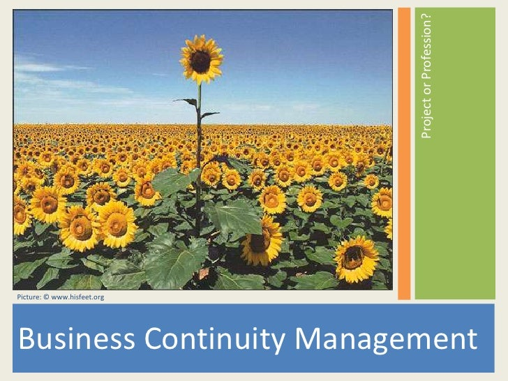 Business Continuity Management<br />Project or Profession?<br />Picture: © www.hisfeet.org<br />