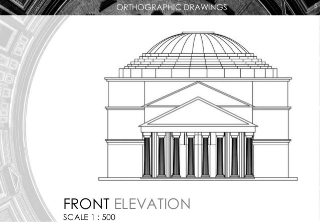 Plan And Front Elevation Of A Solid Shape : Pantheon elevation drawing