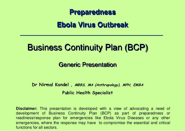 business continuity planning for emergencies like ebola