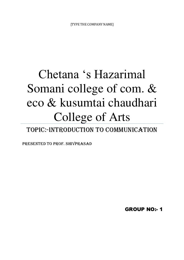 [TYPE THE COMPANY NAME]   Chetana 's Hazarimal Somani college of com. & eco & kusumtai chaudhari      College of Arts Topi...
