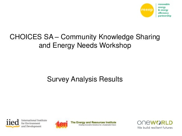 CHOICES SA – Community Knowledge Sharing and Energy Needs Workshop Survey Analysis Results