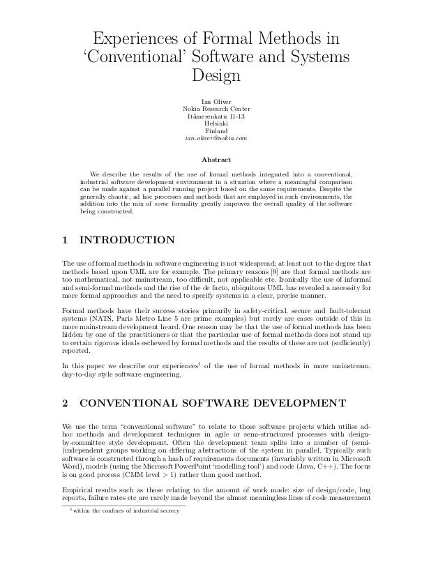 Experiences of Formal Methods in `Conventional' Software and Systems Design