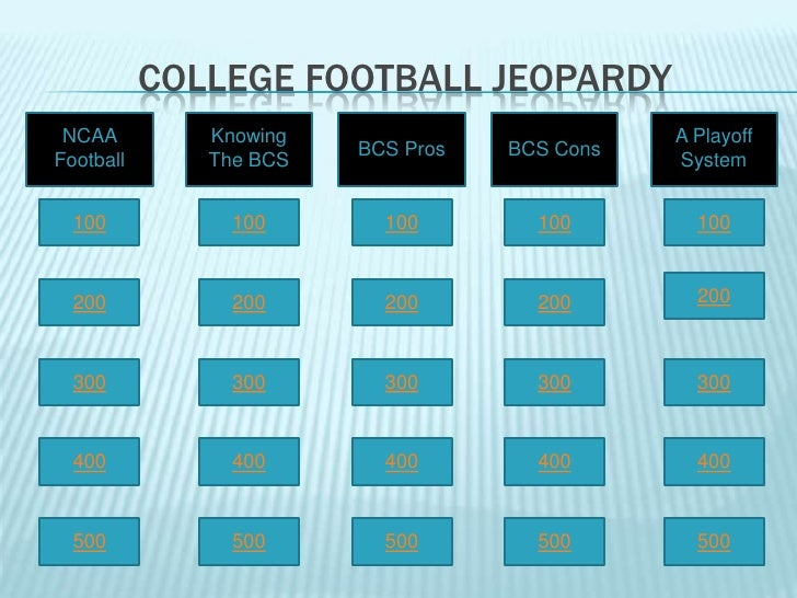 COLLEGE FOOTBALL JEOPARDY  NCAA         Knowing                         A Playoff                         BCS Pros   BCS C...