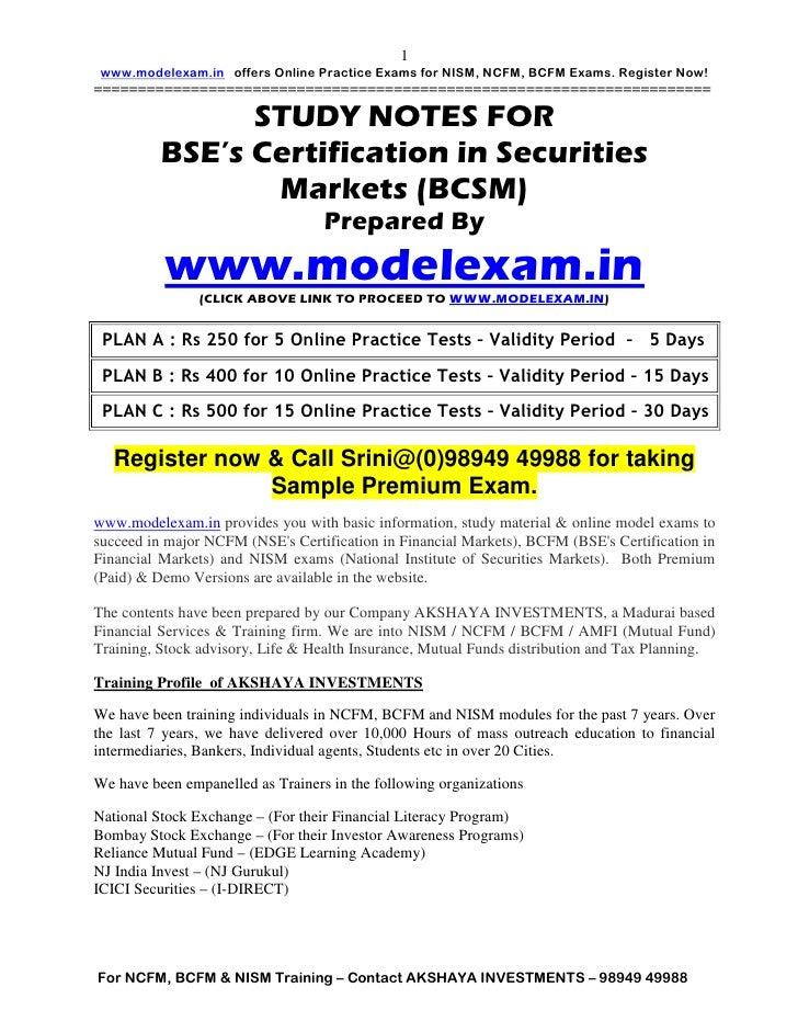 1 www.modelexam.in offers Online Practice Exams for NISM, NCFM, BCFM Exams. Register Now!=================================...