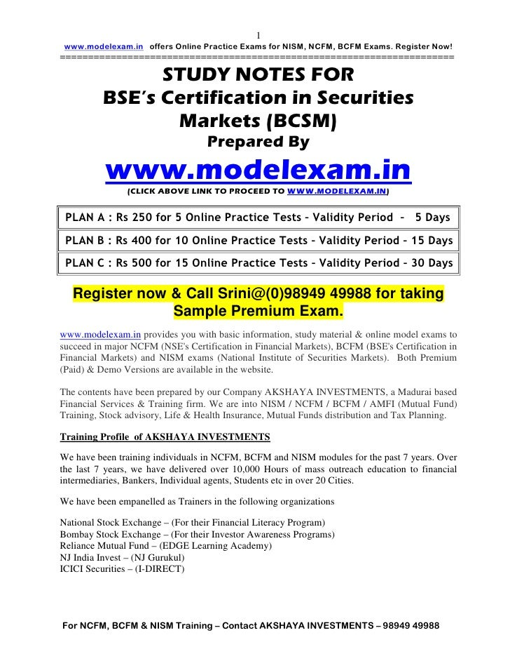 BSE (BOMBAY STOCK EXCHANGE) CERTIFICATION IN SECURITIES MARKETS STUDY NOTES BCSM