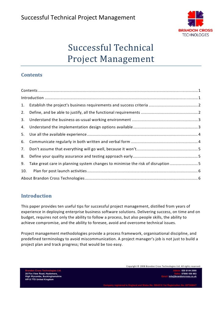 Successful Technical Project Management