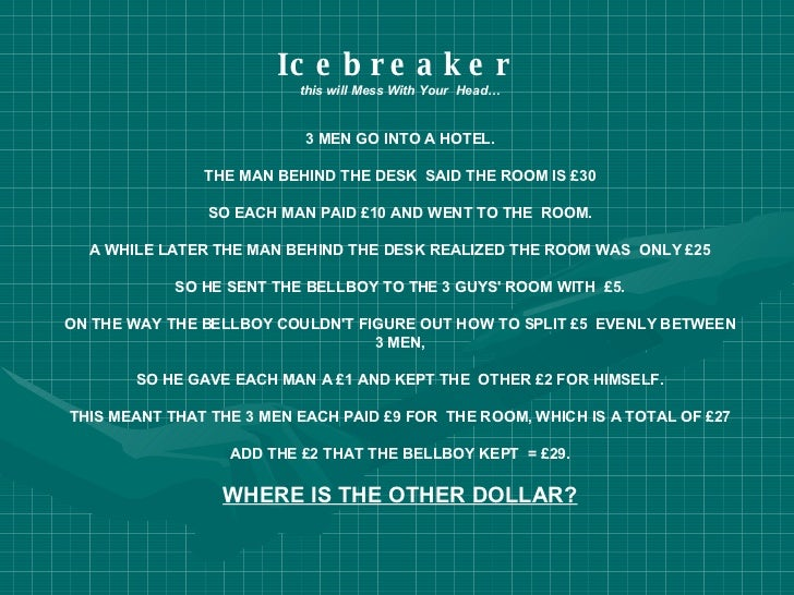 Icebreaker   this will Mess With Your  Head… 3 MEN GO INTO A HOTEL. THE MAN BEHIND THE DESK  SAID THE ROOM IS £30 SO EACH ...
