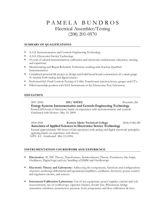 sample electronic assembler resume
