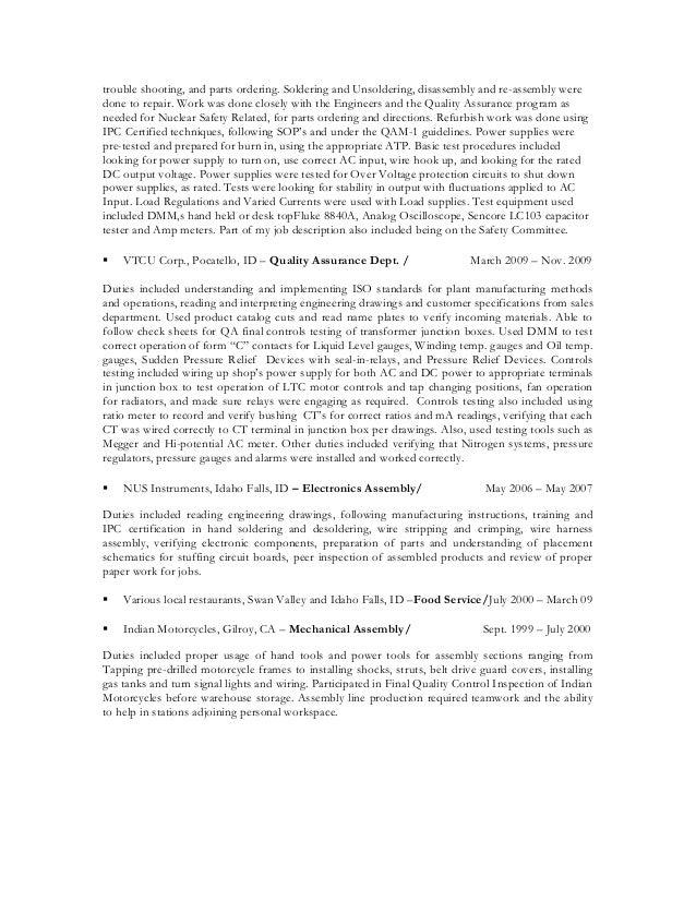 updated electrical assembler resume