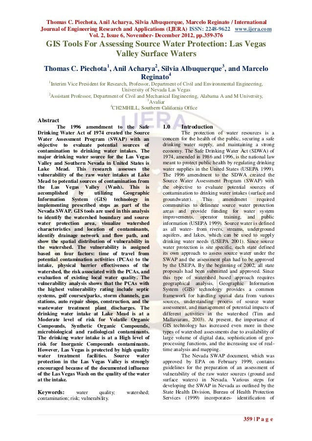 Thomas C. Piechota, Anil Acharya, Silvia Albuquerque, Marcelo Reginato / International Journal of Engineering Research and...
