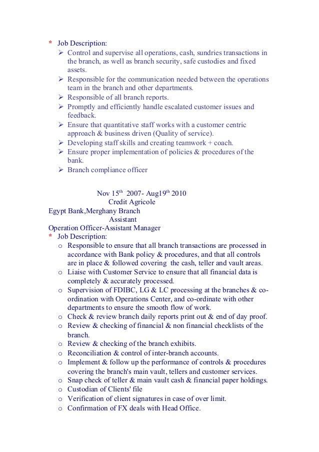Enaba cv doc - Compliance officer job description bank ...
