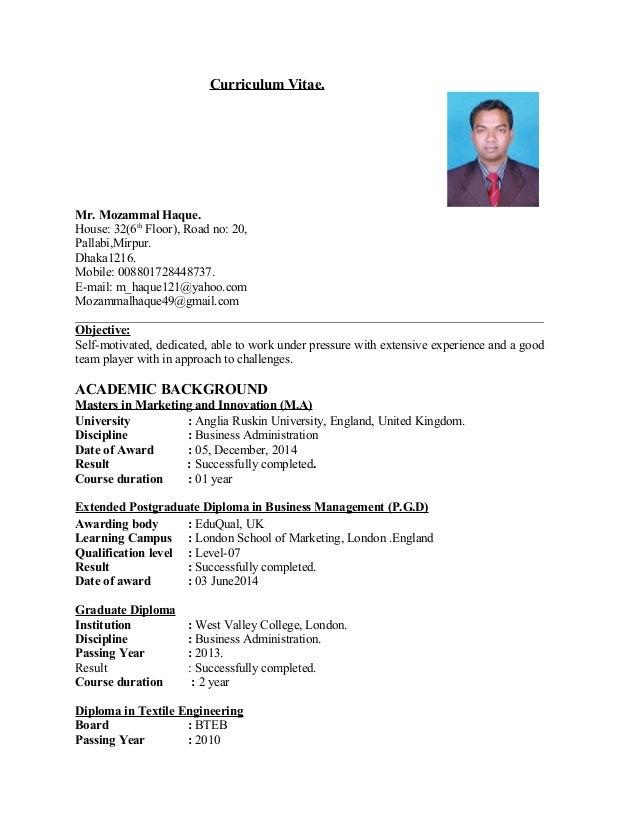 Mozammal Haque Bd Resume 2016