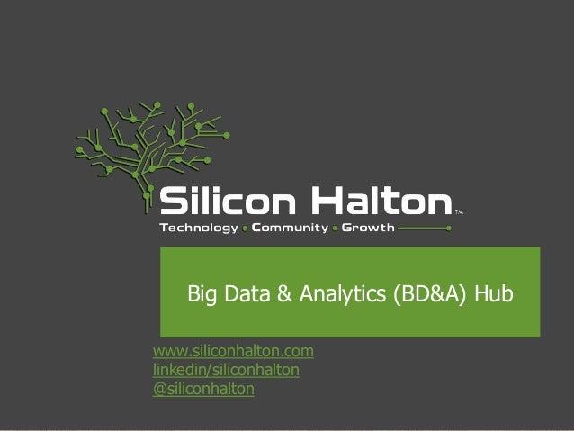 www.siliconhalton.com linkedin/siliconhalton @siliconhalton Big Data & Analytics (BD&A) Hub