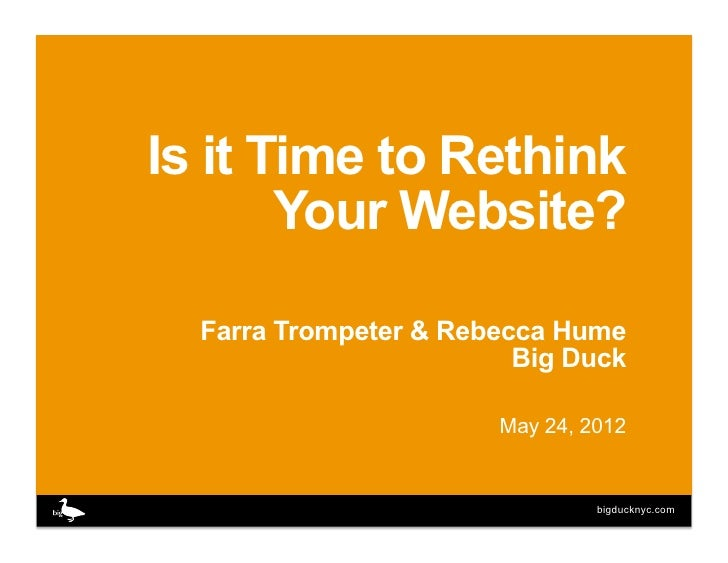 Is it Time to Rethink       Your Website?  Farra Trompeter & Rebecca Hume                         Big Duck                ...
